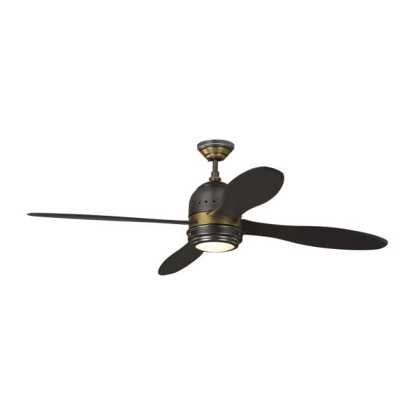 TOB by Thomas O'Brien Metrograph 56 in. Integrated LED Indoor Bronze and Antique Brass Ceiling Fan with Light Kit