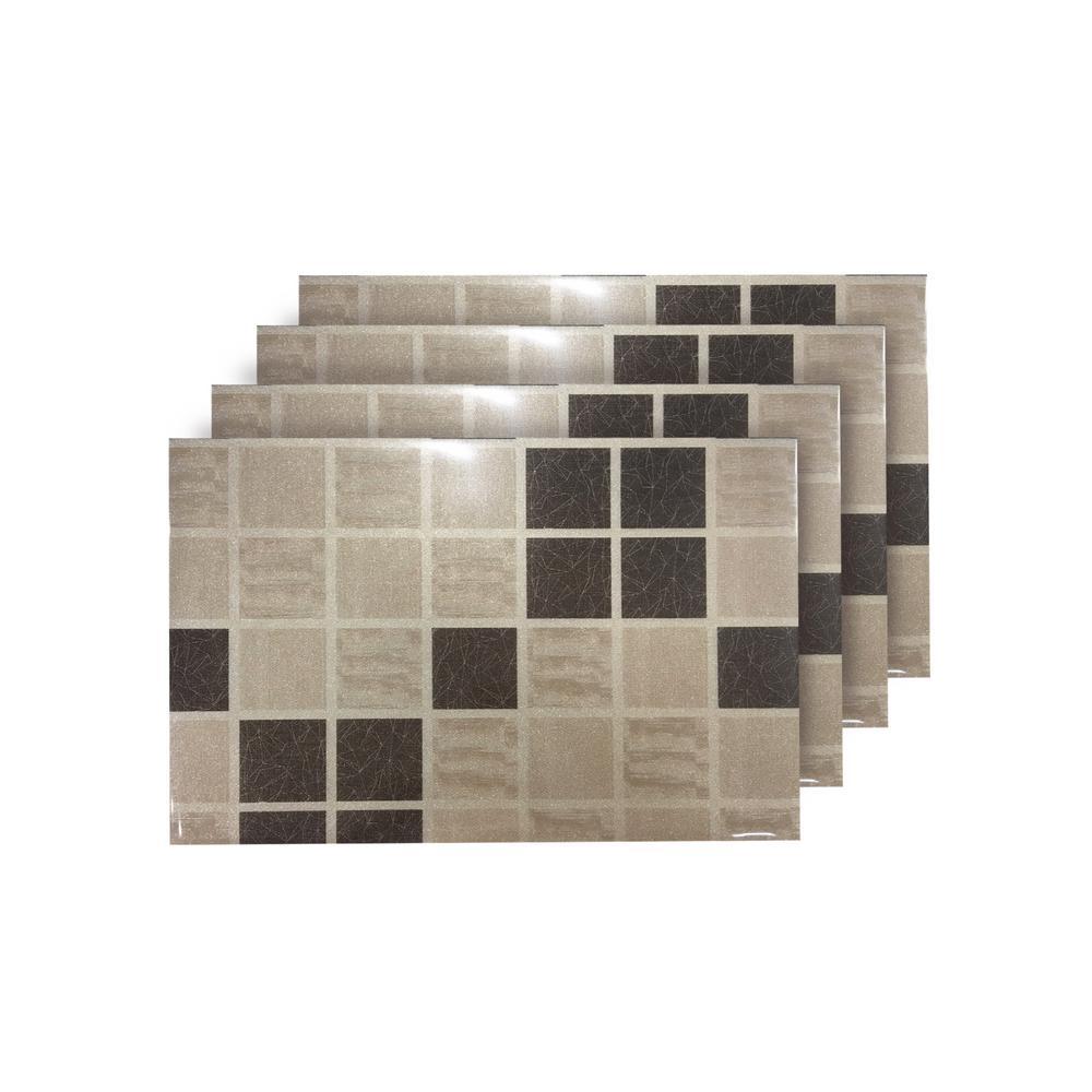 Shimmer Block Brown Reversible Metallic Placemats (Set of 4)