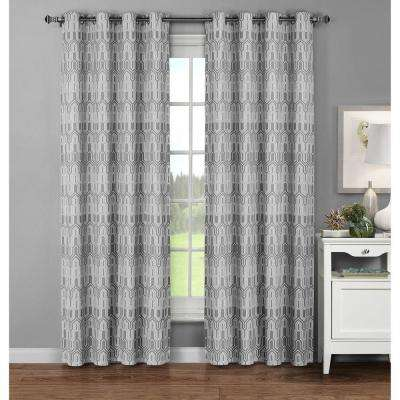 Semi-Opaque Juneau Printed Cotton Extra Wide 96 in. L Grommet Curtain Panel Pair, Grey (Set of 2)
