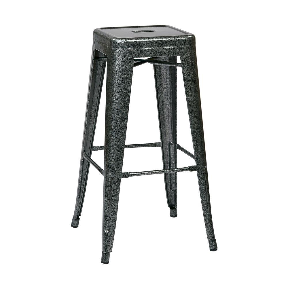 Office Star Patterson 30 in. Pewter Gray Steel Backless Barstool-DISCONTINUED