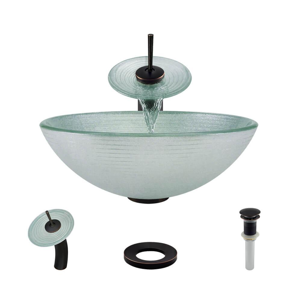 Rene By Elkay Glass Vessel Sink In Sparkling Silver With Waterfall Faucet  And Pop Up