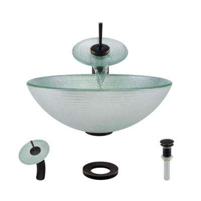 Glass Vessel Sink in Sparkling Silver with Waterfall Faucet and Pop-Up Drain in Antique Bronze