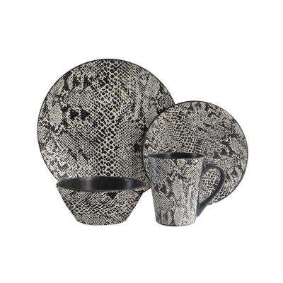 Snake Skin 16-Piece Black/White Dinner Set