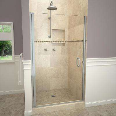 1200 Series 28 in. W x 76 in. H Semi-Frameless Pivot Shower Door in Brushed Nickel with Pull Handle and Clear Glass