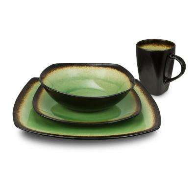 Haus 16-Piece Brown and Lime Dinnerware Set