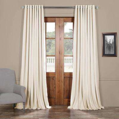 Signature Off White Ivory Doublewide Grommet Blackout Velvet Curtain - 100 in. W x 84 in. L