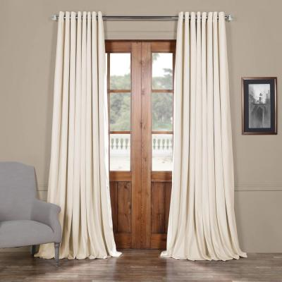 Signature Off White Ivory Doublewide Grommet Blackout Velvet Curtain - 100 in. W x 120 in. L