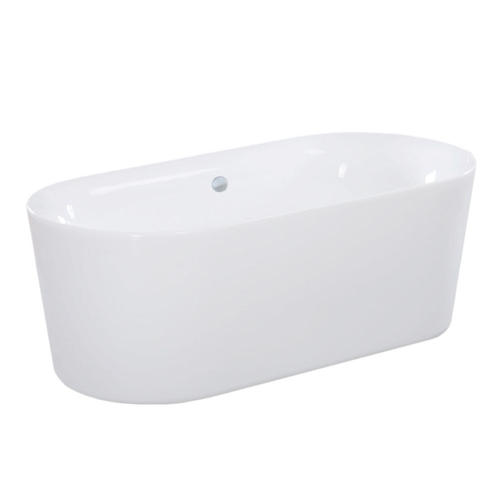 Maykke dewey 5 ft acrylic flatbottom non whirlpool for Best acrylic bathtubs