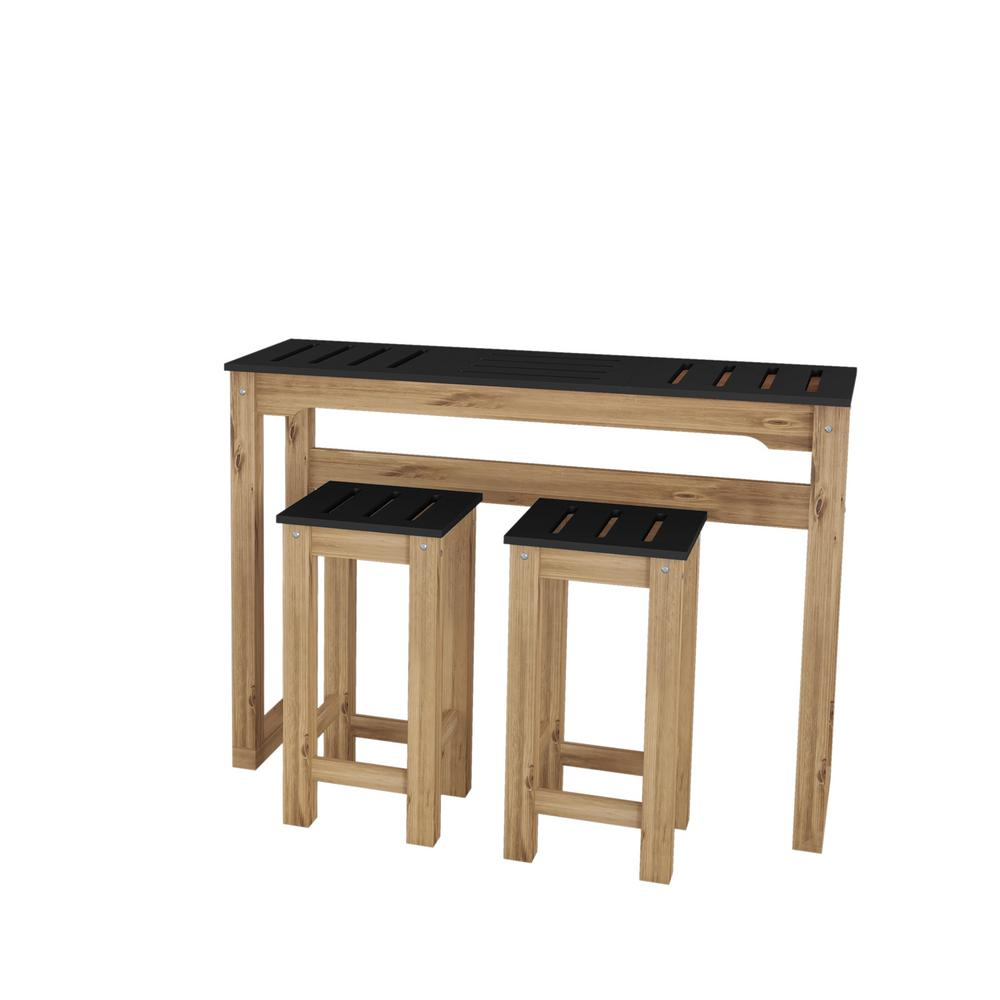Manhattan Comfort Stillwell 47 3 In 3 Piece Black And Natural Wood
