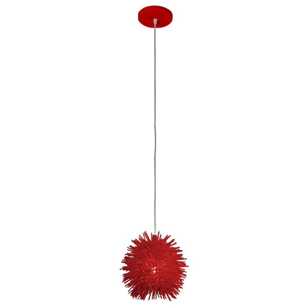 Varaluz Urchin 1-Light Super Red Uber Mini Pendant