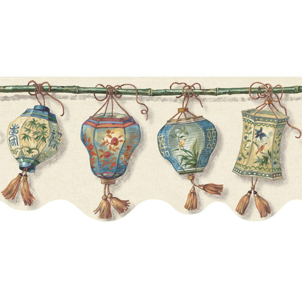 The Wallpaper Company 8 in. x 10 in. Blue Jewel Tone Romantic Chinese Lanterns Border Sample