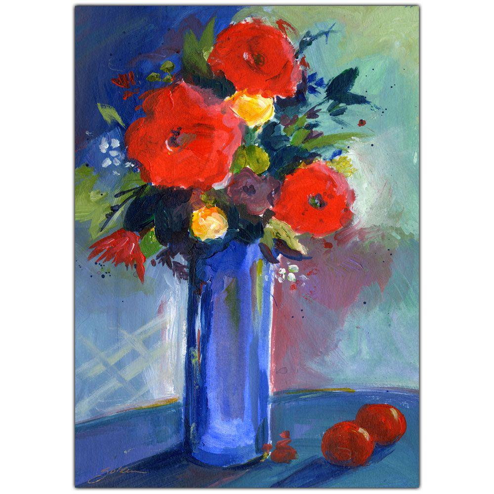 Trademark Fine Art 18 in. x 24 in. Red Flowers Canvas Art