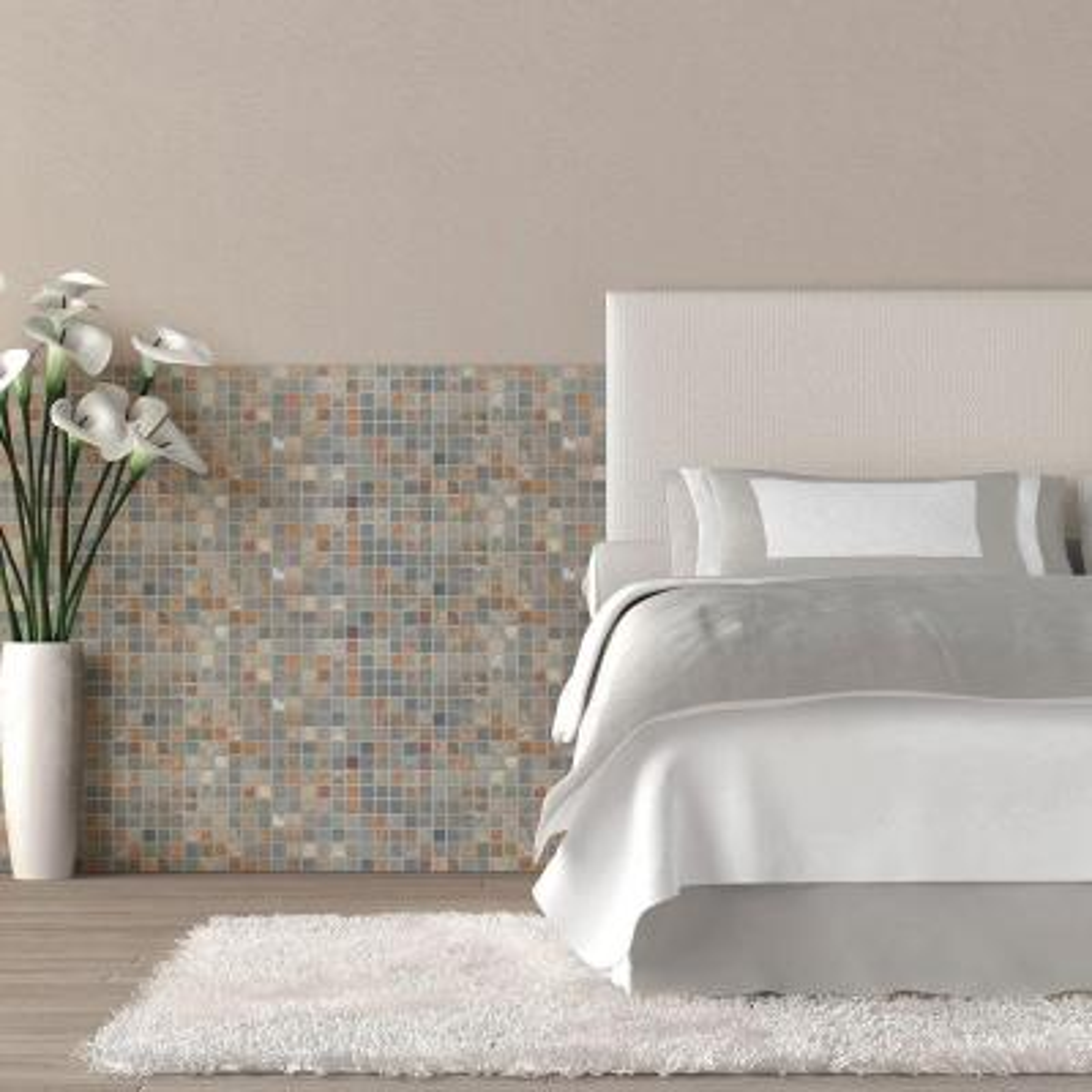 11.75 in. x 11.75 in. x 8 mm Slate Mosaic Floor/Wall Tile