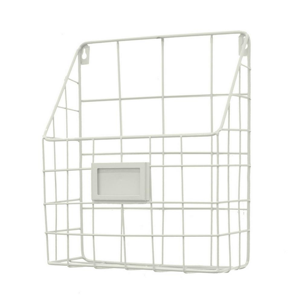 12 in. Metal Wall Rack in White