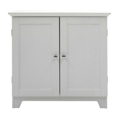 Contemporary Country 23.5 in. W x 11.75 in. D x 23.5 in. H Free Standing Double Door Cabinet With Shaker Panels in White