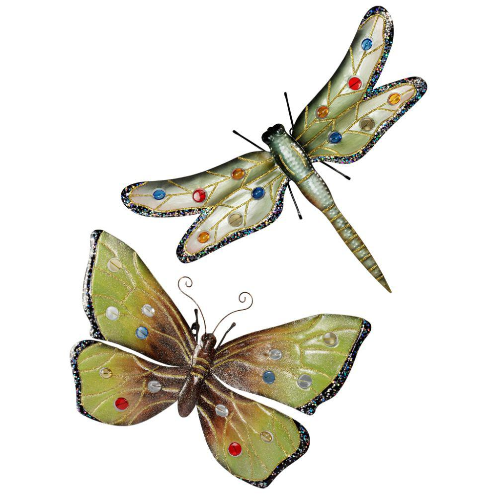 Design Toscano 18 In H Oversized Dragonfly And Butterfly Wall Sculptures Set Of 2 Mh913328 The Home Depot