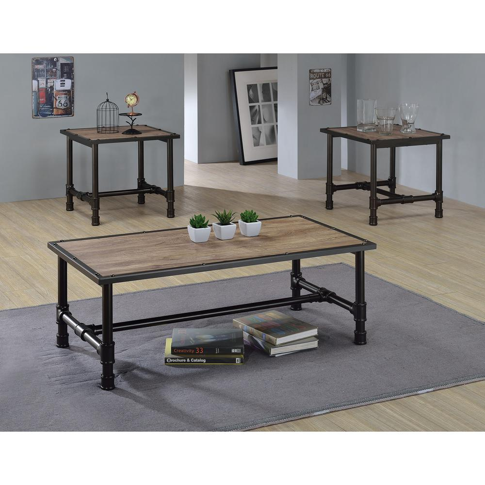 ACME Furniture Caitlin Rustic Oak Built In Storage Coffee Table