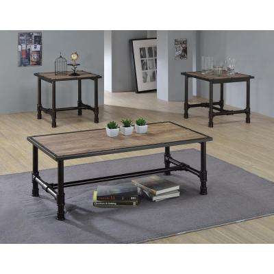 Caitlin Rustic Oak Built-In Storage Coffee Table