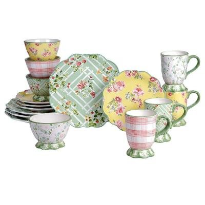 English Garden 16-Piece Multi-Colored Earthenware Service Set for 4 Dinnerware Set