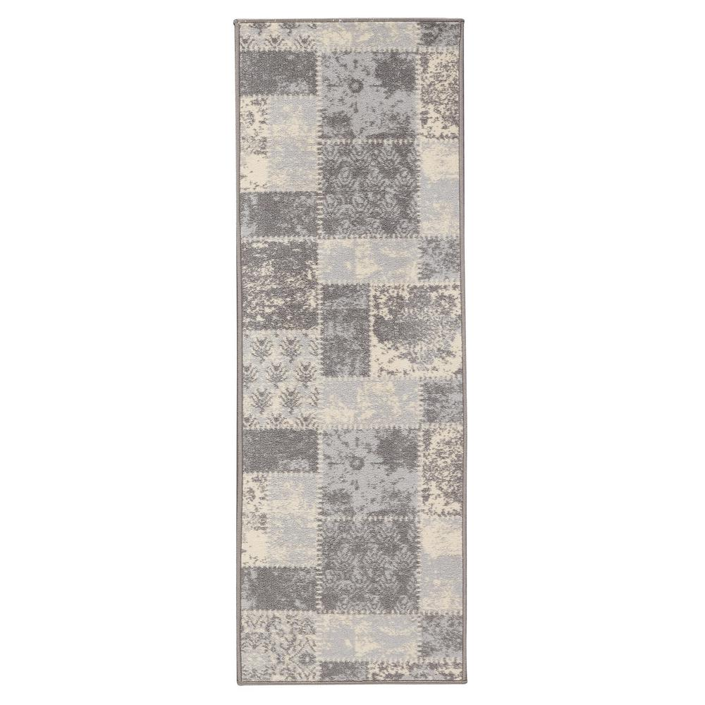 Anne Collection Patchwork Design Gray And Beige 2 Ft X 10 Non