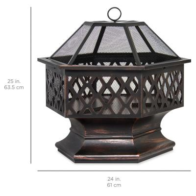 24 in. x 24 in. x 8.5 in. Hexagon Steel Wood Fire Pit with Mesh Lid