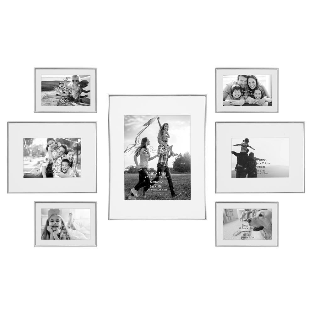 Decorative Silver Steel Picture Frame Set (Set of 7)