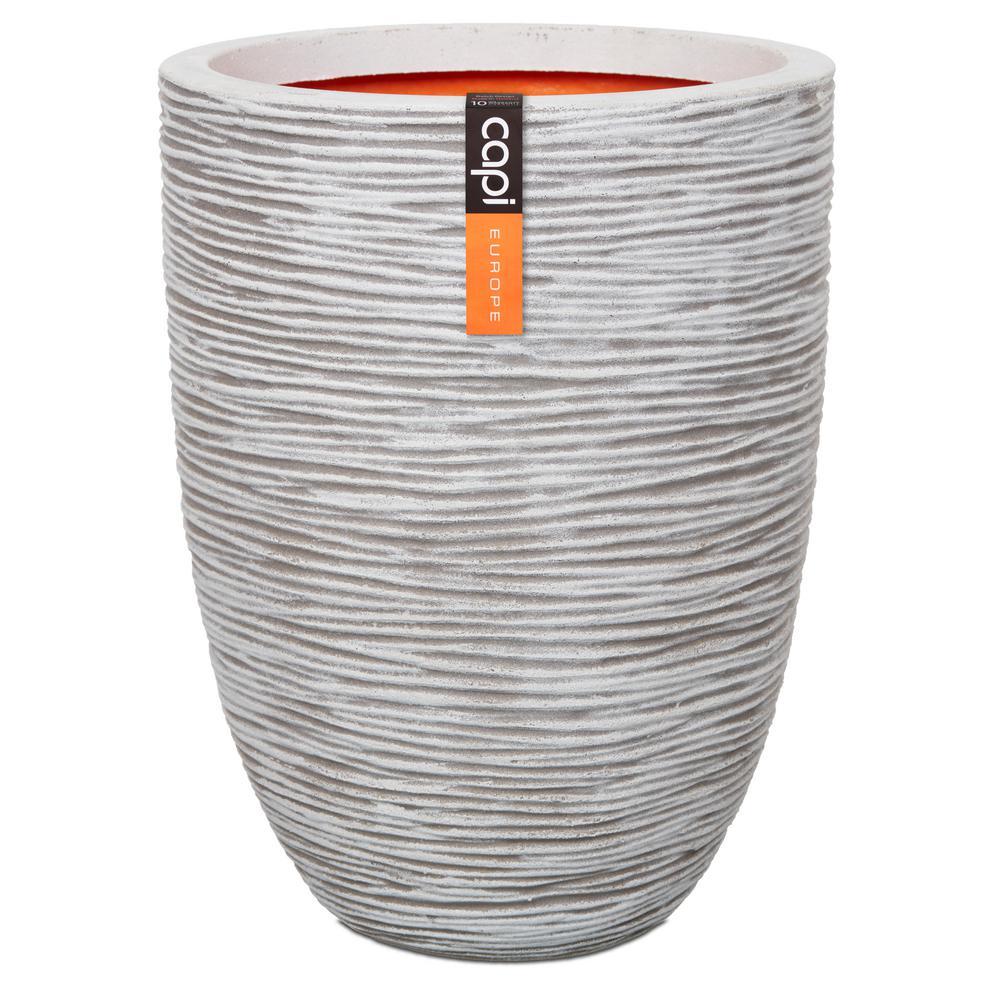 18.50 in. x 18.50 in. x 14.17 in. Ivory Polyurethane Elegant Ribbed Vase