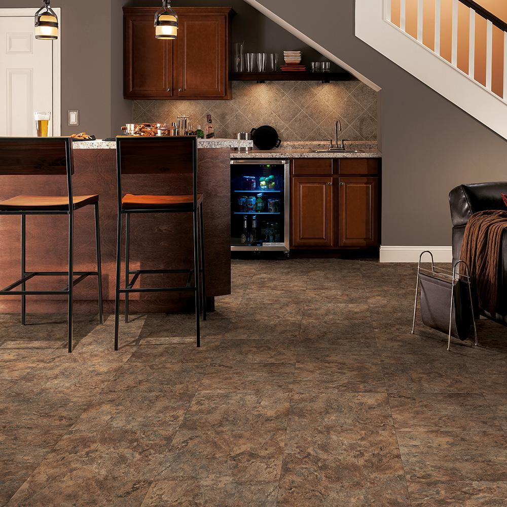Trafficmaster Morocco Slate 12 In X 080 L And Stick Vinyl Tile 30 Sq Ft Carton