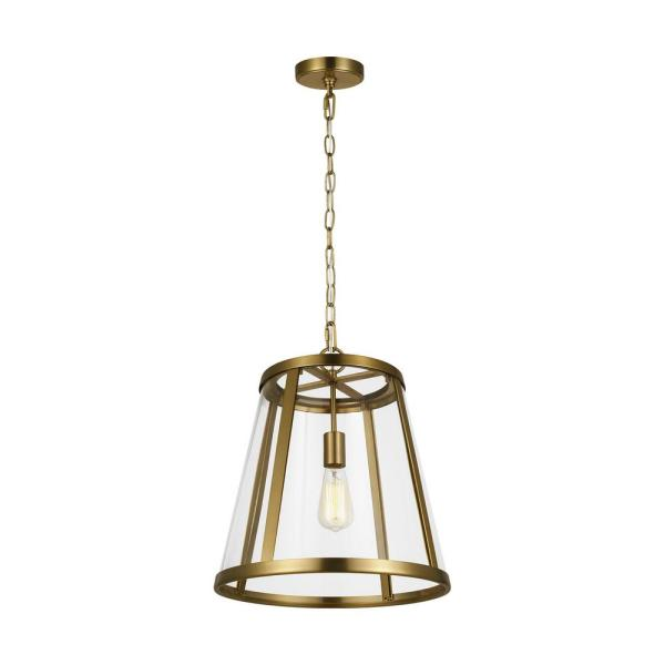 Harrow 16 in. W. 1-Light Burnished Brass Pendant with Clear Glass Shade