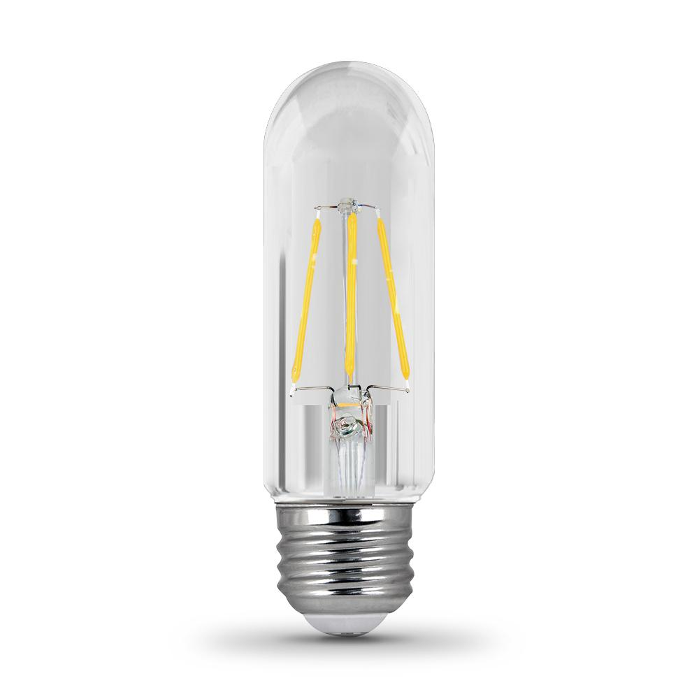 Feit Electric 40W Equivalent Soft White (2700K) T10 Dimmable Filament LED Clear Glass Light Bulb