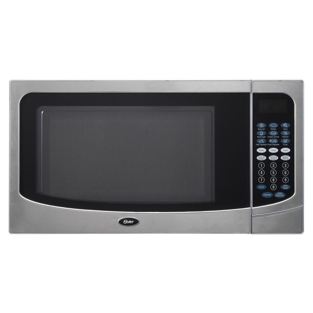 Oster Countertop Microwave Stainless Steel Silver 1.6 cu. ft. 1000-Watt with Push Button