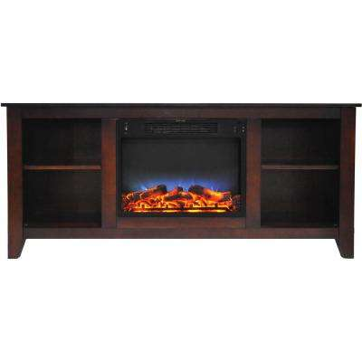 Santa Monica 63 in. Freestanding Electric Fireplace and Entertainment Stand in Mahogany withMulti-Color LED Insert
