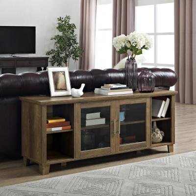 58 in. Rustic Barnwood Composite TV Console 60 in. with Adjustable Shelves