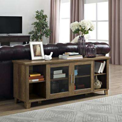 Columbus Rustic Oak TV Stand with Middle Doors