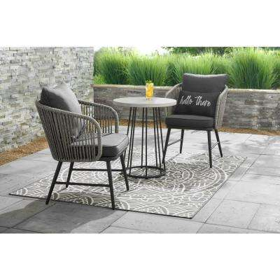 Paden 3-Piece Wicker Outdoor Patio Bistro Set with Grey Cushion