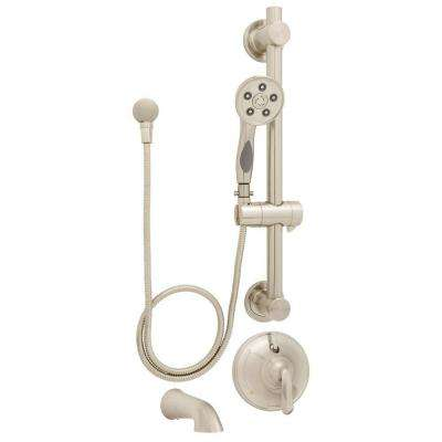 Caspian Anystream 3-Spray Handheld Shower and Tub Combination with Grab/Slide Bar in Brushed Nickel (Valve Included)