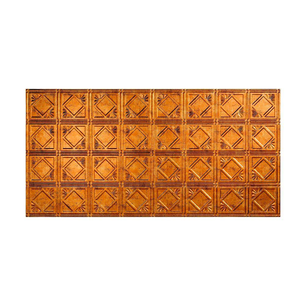 Fasade Traditional 4 - 2 ft. x 4 ft. Glue-up Ceiling Tile in Muted Gold
