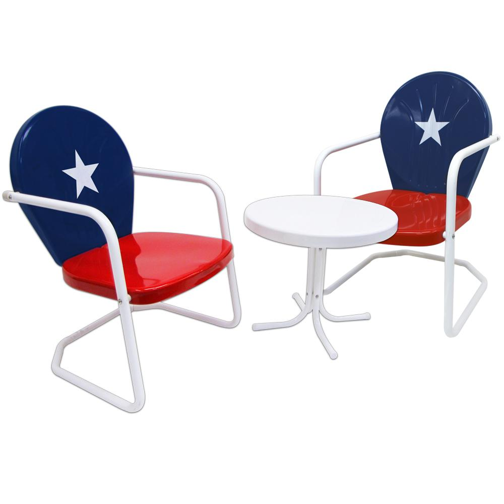 Retro Red White And Blue 3 Piece Metal Outdoor Bistro Patio Set