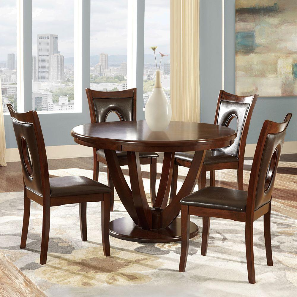 Holmes 5 piece rich cherry dining set dining room for Cherry dining room set