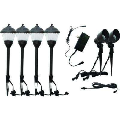 Low Voltage 30-Watt Black Outdoor Integrated LED Landscape Spot and Path Light Kit with 35-Watt Transformer (6-Pack)