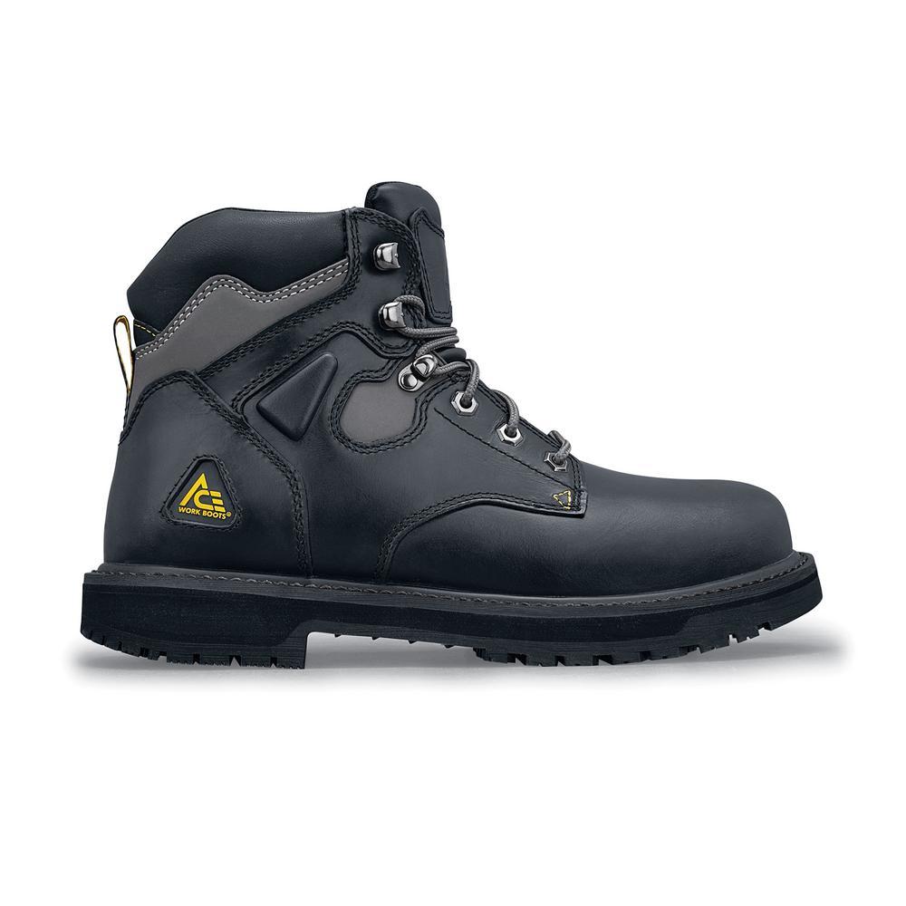 Ace Providence ST Men s Size 8.5 Black Leather Slip-Resistant Steel Toe  Work Boot 2ec87d4e914