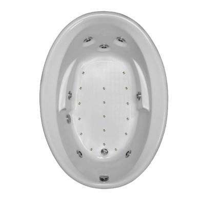 60 in. Acrylic Oval Drop-in Air and Whirlpool Bathtub in Bone