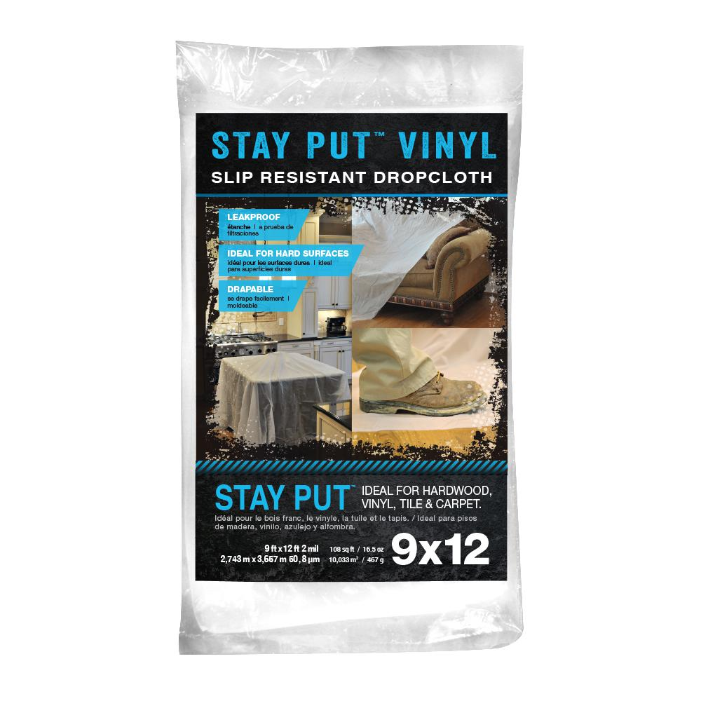 Stay Put 9 Ft X 12 Ft 2 Mil Vinyl Drop Cloth 04301 Hd The Home Depot
