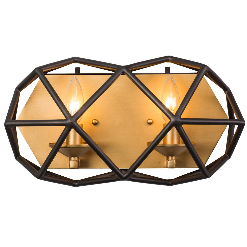 Geo 2-Light Antique Gold with Rustic Bronze Bath Light