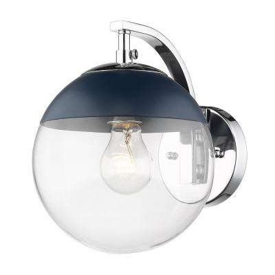 Chrome Dixon Sconce with Clear Glass and Navy Cap
