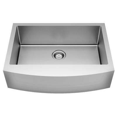 Pekoe Farmhouse/Apron-Front Mount Stainless Steel 30 in. Single Bowl Kitchen Sink