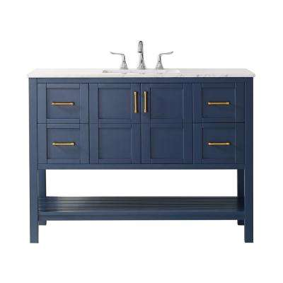 """Florence 48"""" Vanity in RoyalBlue with Carrara White Marble Countertop Without Mirror"""