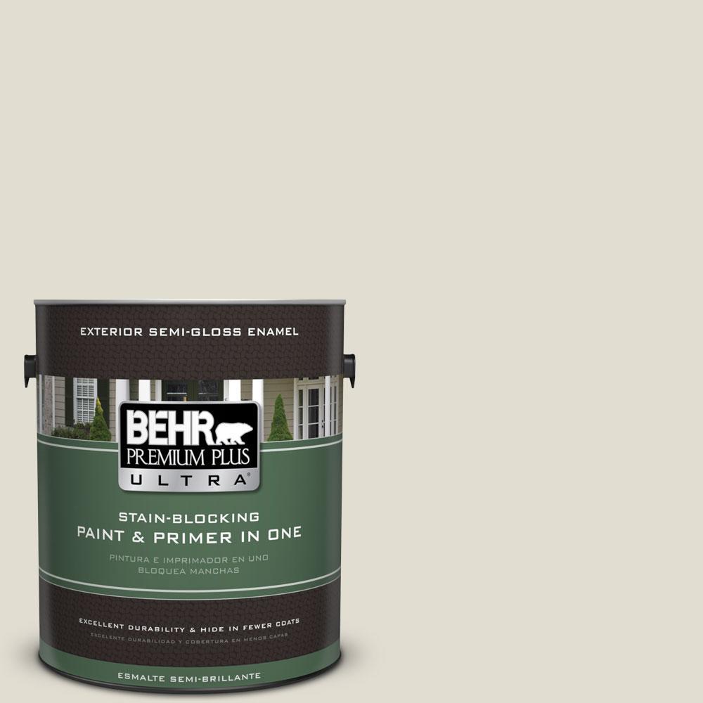 BEHR Premium Plus Ultra 1-gal. #N340-1 Light Granite Semi-Gloss Enamel Exterior Paint