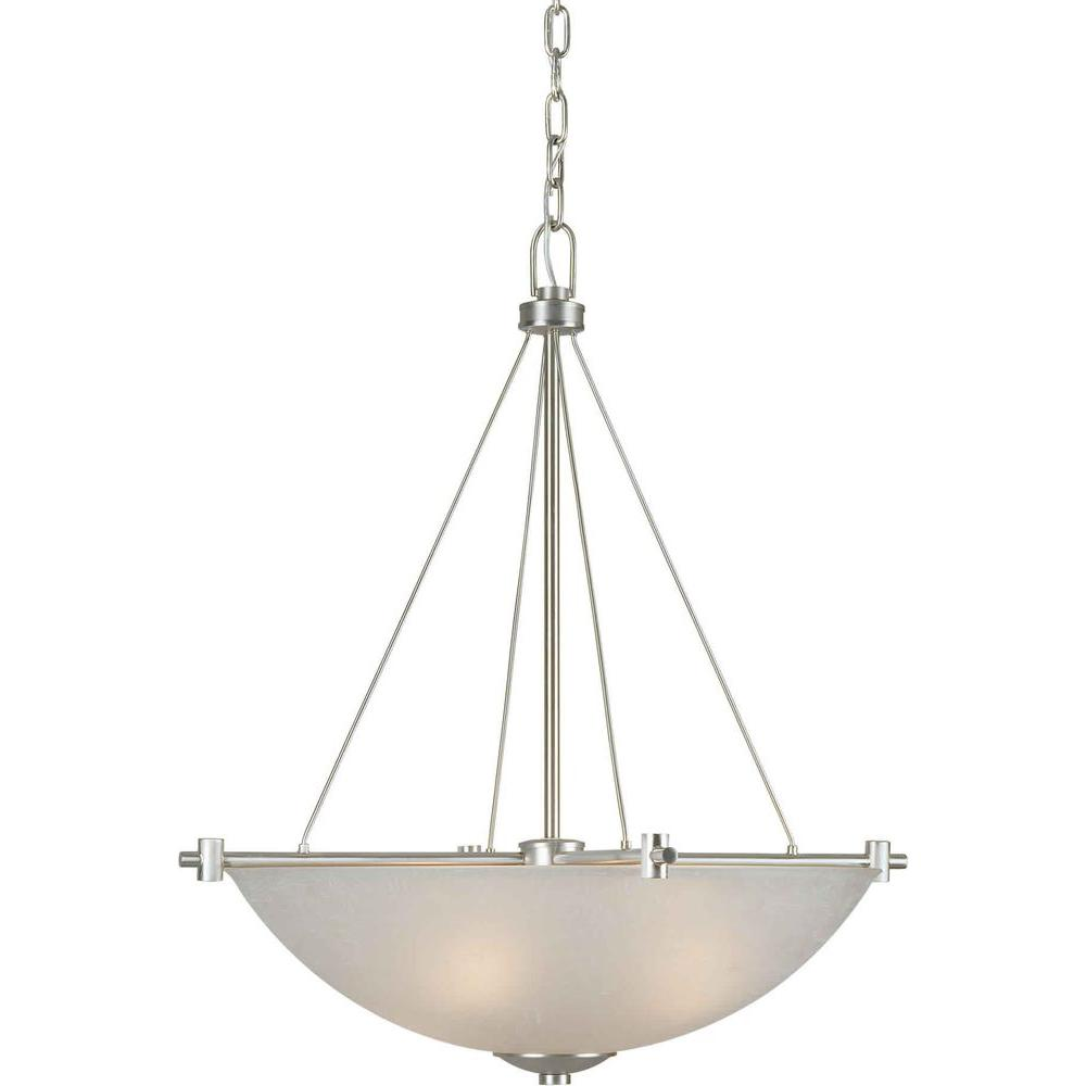 Illumine 4 Light Bowl Pendant Brushed Nickel Finish White Linen Glass-DISCONTINUED