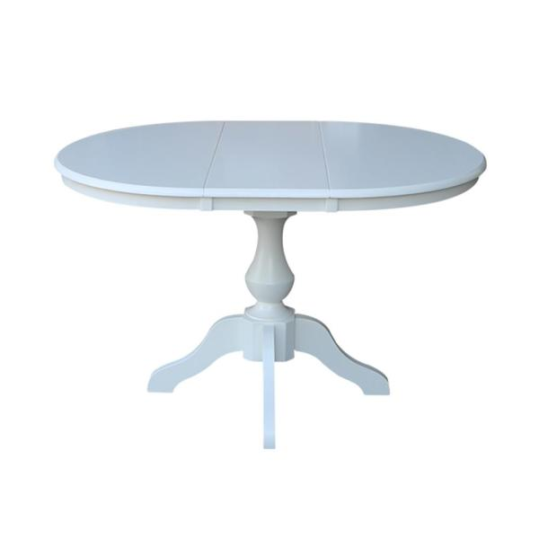 International Concepts Hampton White Solid Wood Oval Extension Dining Table